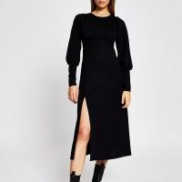 River Island Black long sleeve front split midi dress | thigh high slit dresses