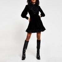 River Island Black long sleeve high neck velvet dress ~ cut-work detail dresses