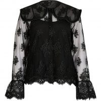 RIVER ISLAND Black long sleeve lace collar top ~ semi sheer tops ~ romantic style fashion