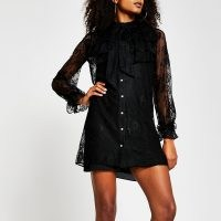RIVER ISLAND Black long sleeve lace frill dress – sheer overlay dresses