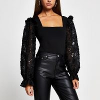 River Island Black long sleeve corset lurex blouse top | glamorous square neck evening tops | sparkly volume sleeved fashion