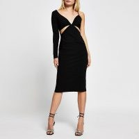River Island Black long sleeve one shoulder bodycon dress | LBD | cut out evening dresses