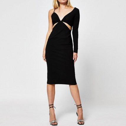 River Island Black long sleeve one shoulder bodycon dress | LBD | cut out evening dresses - flipped