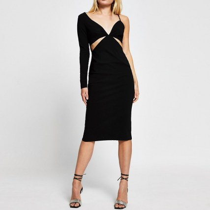 River Island Black long sleeve one shoulder bodycon dress | LBD | cut out evening dresses