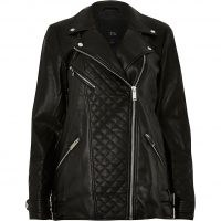River Island Black longline PU quilted biker jacket – casual zip detail jackets