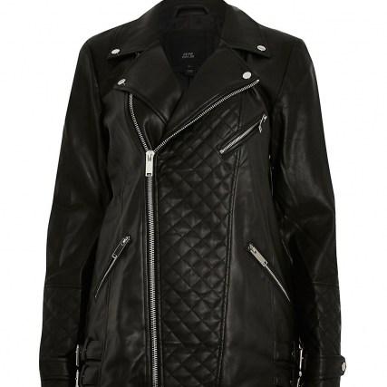 River Island Black longline PU quilted biker jacket – casual zip detail jackets - flipped