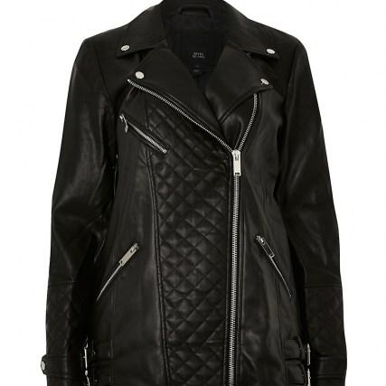 River Island Black longline PU quilted biker jacket – casual zip detail jackets