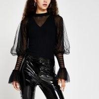 RIVER ISLAND Black metallic long sleeve ruffle top / shimmering part sheer tops