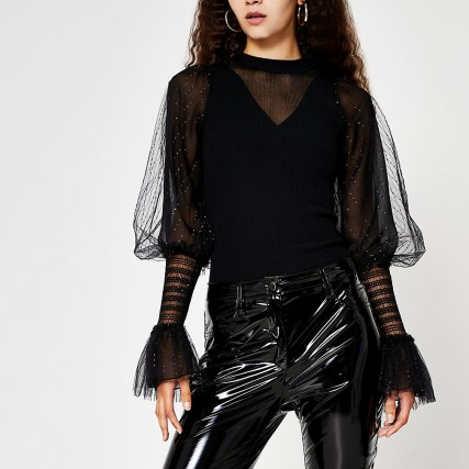 RIVER ISLAND Black metallic long sleeve ruffle top / shimmering part sheer tops - flipped