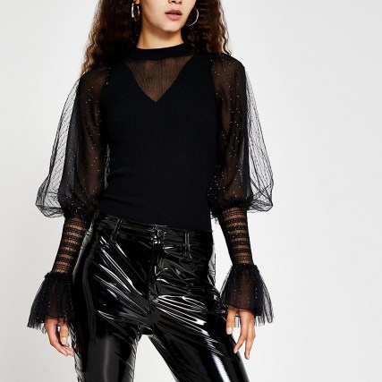 RIVER ISLAND Black metallic long sleeve ruffle top / shimmering part sheer tops