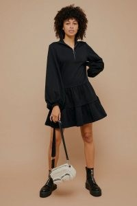 TOPSHOP Black Peplum Sweatshirt Mini Dress With Zip ~ casual frill hem dresses ~ weekend style fashion