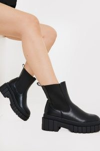 IN THE STYLE BLACK PU CHUNKY BIKER BOOT ~ thick sole ankle boots