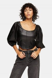 TOPSHOP Black PU Cropped Puff Sleeve Corset ~ faux leather crop hem tops