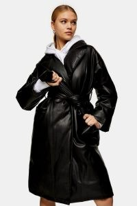 TOPSHOP Black PU Padded Belted Coat ~ faux leather self tie coats