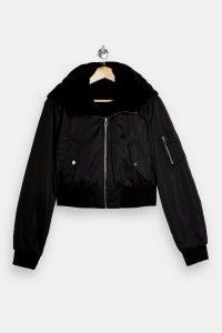 Topshop Black Reversible Jacket | faux fur bomber style jackets