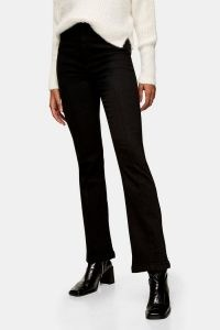 Topshop Black Seamed Flare Jeans | dark denim | front seam flares