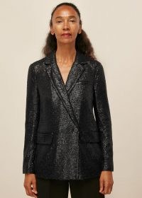 WHISTLES SEQUIN DOUBLE BREASTED BLAZER BLACK / shimmering evening jackets / sequinned blazers