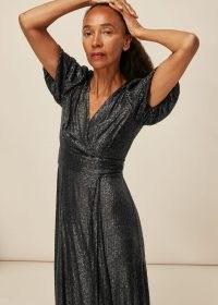 WHISTLES SEQUIN WRAP DRESS BLACK / glittering LBD / sequinned occasion dresses