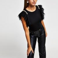 River Island Black short sleeve mesh pearl top – frill detail tops