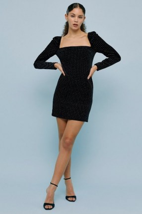 Topshop Black Studded Velvet Square Neck Mini Dress | LBD | stud covered party dresses | going out fashion - flipped