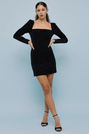 Topshop Black Studded Velvet Square Neck Mini Dress | LBD | stud covered party dresses | going out fashion