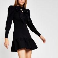 RIVER ISLAND Black taffeta bow mini dress ~ lbd ~ puff sleeve dresses