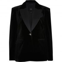 River Island Black velvet fitted blazer – soft feel evening jackets – going out blazers
