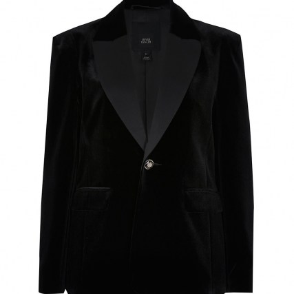 River Island Black velvet fitted blazer – soft feel evening jackets – going out blazers - flipped