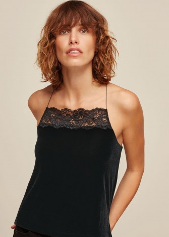 WHISTLES VELVET LACE TRIM CAMI TOP / black evening camisole / strappy back camisoles - flipped