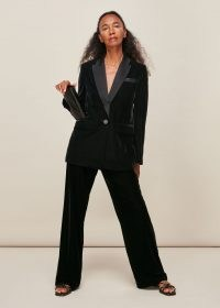 JIGSAW VELVET TUX BLAZER BLACK / single breasted blazers / a touch of evening glamour / glam jackets