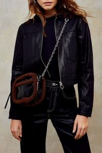 Topshop Black Vinyl Faux Fur Cross Body Bag | fluffy trimmed crossbody