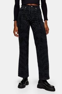 TOPSHOP Black Warp Print 90s Straight Jeans – printed denim