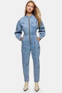 Topshop Bleach Denim Seam Boiler Suit | light blue boiler suits