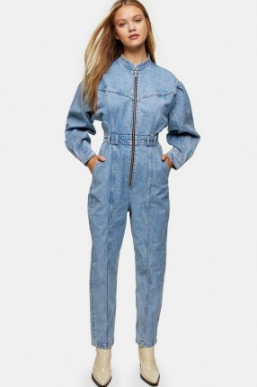 Topshop Bleach Denim Seam Boiler Suit | light blue boiler suits - flipped