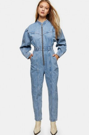 Topshop Bleach Denim Seam Boiler Suit | light blue boiler suits