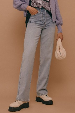Topshop Bleach Kort Parallel Jeans | bleached denim | high rise | straight leg - flipped