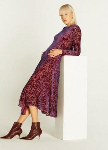 L.K. BENNETT BLOOMSBURY DEVORÉ SPOT MIDI DRESS in PINK / textured burnout dresses - flipped