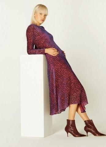 L.K. BENNETT BLOOMSBURY DEVORÉ SPOT MIDI DRESS in PINK / textured burnout dresses