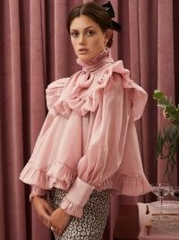 sister jane Grapefruit Ruffle Bow Top Candy Pink ~ full frill trimmed high neck tops ~ romantic fashion