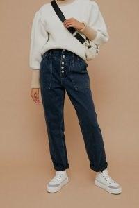Topshop Blue Black Button Fly Mom Tapered Jeans | dark denim