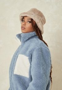 Missguided blue borg teddy cord mix jacket ~ chunky textured jackets ~ faux fur outerwear ~ cool casual winter look