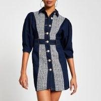 River Island Blue boucle mini denim dress | double fabric dresses