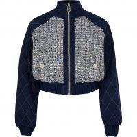 River Island Blue denim boucle crop bomber jacket | double fabric jackets