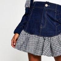 River Island Blue denim boucle frill mini skirt | textured ruffle hem skirts