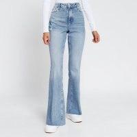 RIVER ISLAND Blue flared high rise denim jeans | high waist | flares