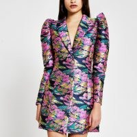 RIVER ISLAND Blue floral jacquard blazer dress ~ defined shoulders ~ luxe style jacket dresses ~ party fashion