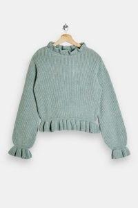 TOPSHOP Blue Frill Neck Knitted Jumper ~ ruffle trim jumpers ~ feminine knitwear