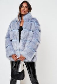 Missguided blue pelted faux fur high collar coat | glamorous winter coats | on trend outerwear