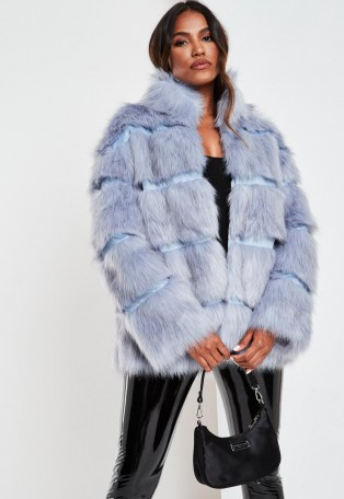 Missguided blue pelted faux fur high collar coat | glamorous winter coats | on trend outerwear - flipped