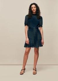 WHISTLES GIANNA OMBRE DOBBY DRESS / blue frill hem dresses